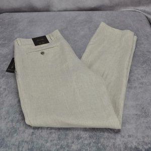 Tasso Elba Island Mens Linen Flat Front Pants